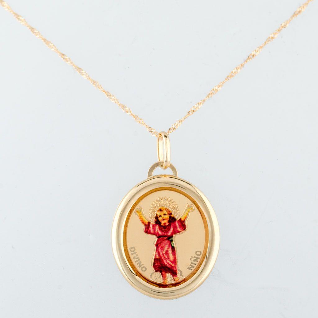 b13104a3c805 Cadena  Singapur Largo  50 cm Medalla  Esmaltada con Divino Niño ...