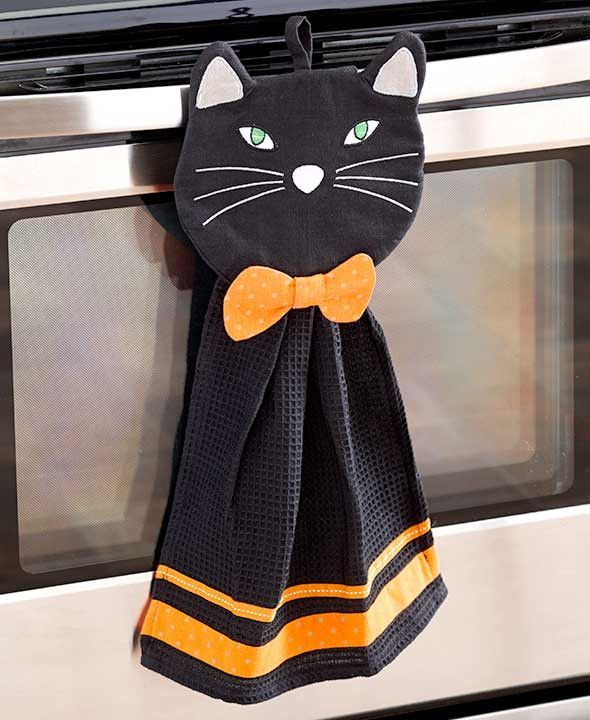 2 pc black cat kitchen set - Halloween Cat Decorations