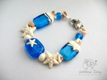 """Браслет """"Морской"""" - lampwork (лэмпворк),морской стиль,ракушки,морская звезда"""