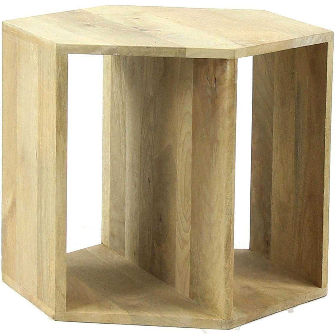 Table Basse Hexagonale Pomax En Bois De Manguier 50x50x40 Graphik