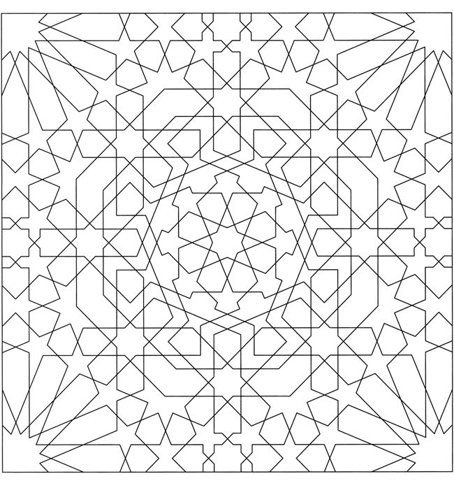 From Alhambra Coloring Book Dover Geometric Coloring Pages Pattern Coloring Pages Islamic Patterns