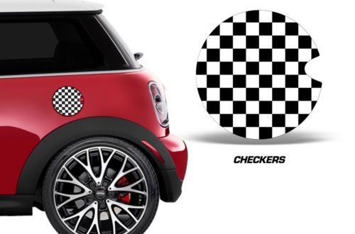 Mini Cooper Gas Cap Decal Graphic Sticker Checkers