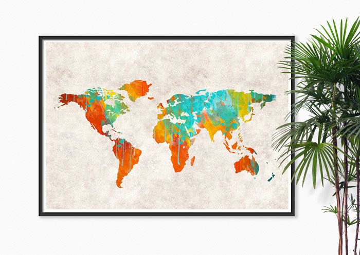 World Map Watercolor canvas texture Art Print, Watercolor painting Map of the World Map Map Decor Map art, Map wall art world map Home decor by Fybur on Etsy https://www.etsy.com/listing/188873764/world-map-watercolor-canvas-texture-art