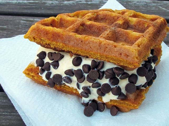 mmm ... toasted waffle ice cream sandwiches ... my favorite!