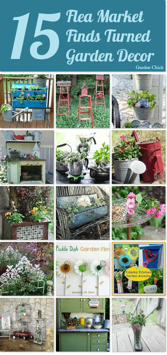 15 flea market finds turned garden decor idea box by karen for Diy flea market projects