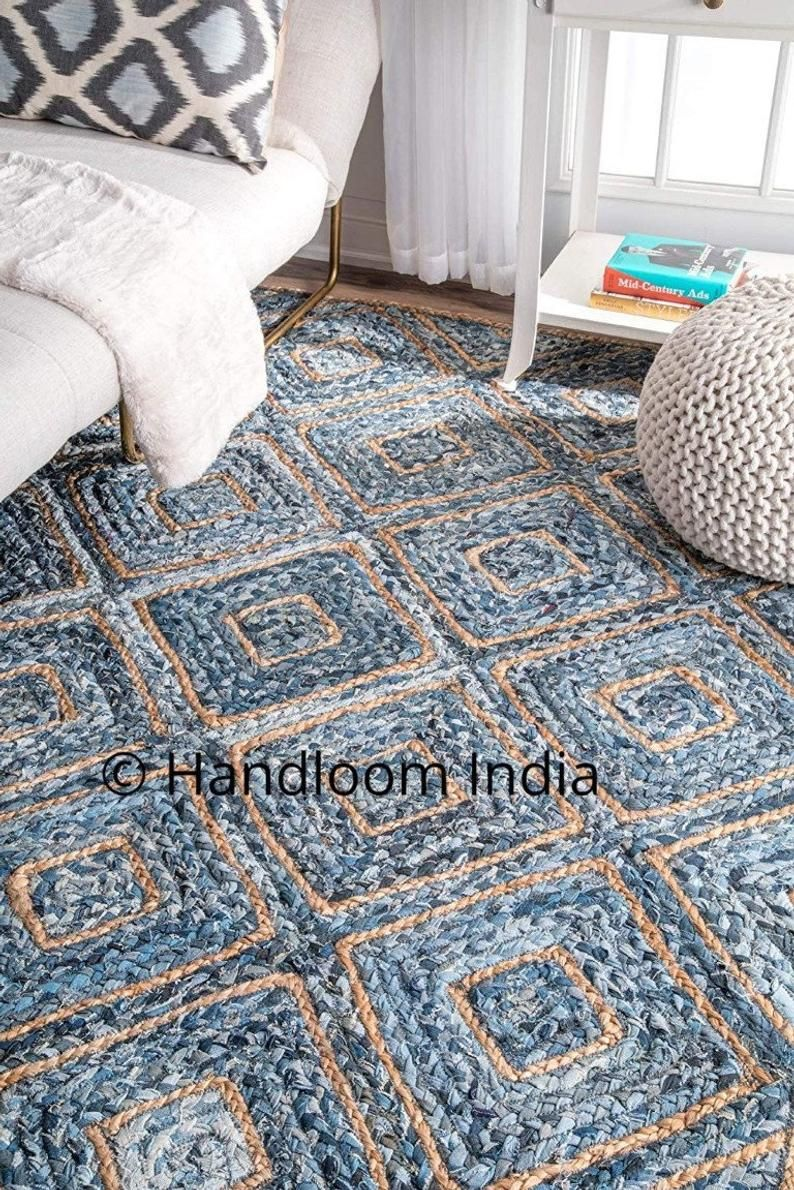 4 X6 Braided Denim Rugs Runner Living Room Solid Area Etsy In 2020 Braided Rag Rugs Denim Rug Braided Rug Diy
