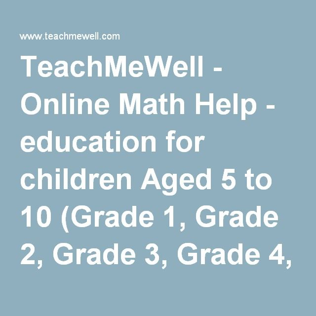 TeachMeWell - Online Math Help - education for children Aged 5 to 10 ...