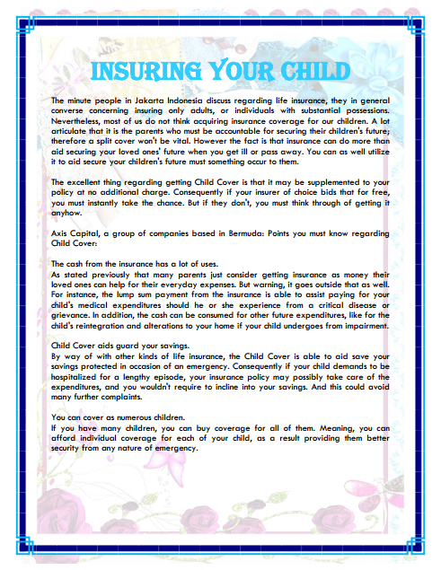 Insuring Your Child The minute people in Jakarta Indonesia