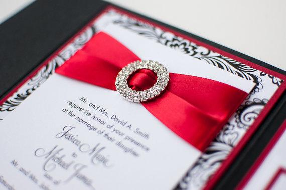 Bling satin wedding invitation in matte poppy red black for Black and white bling wedding invitations