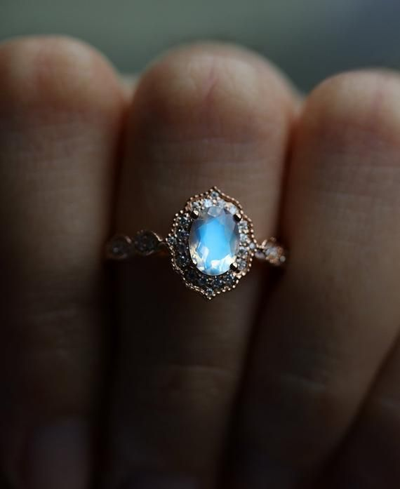 Photo of Moonstone engagement ring women,Vintage diamond wedding ring art deco ring rose gold ring Anniversary bridal ring, Prong set Milgrain ring