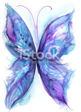 Watercolor Abstract Of A Blue And Purple Butterfly Watercolor