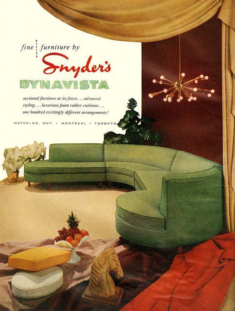 Print Ads Through The Decades The 50s Mid Century Decor Mid Century Modern Interiors Modern Sofa Sectional