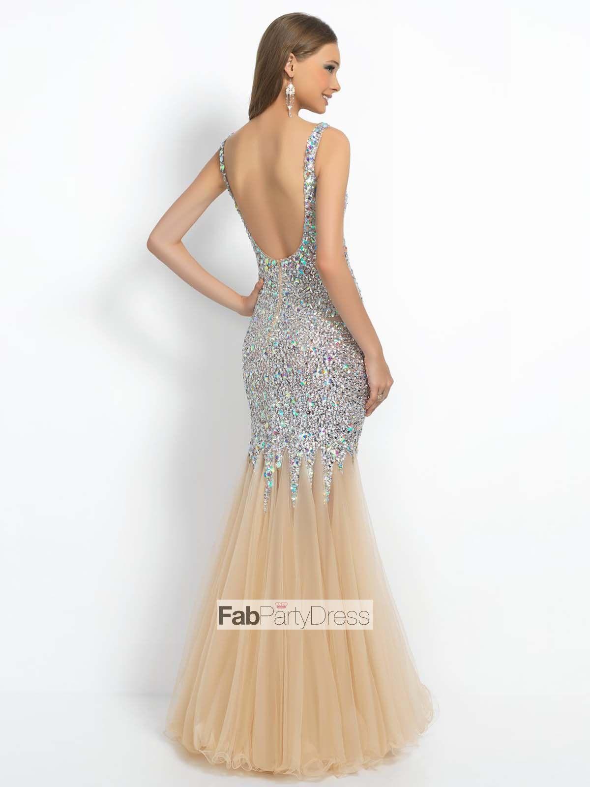Trumpet mermaid beading tulle prom dresses evening dresses
