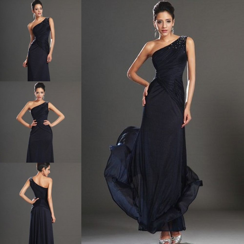 Dunkelblau Ein-träger Abendkleider Ballkleider Damenkleid Lang Gr