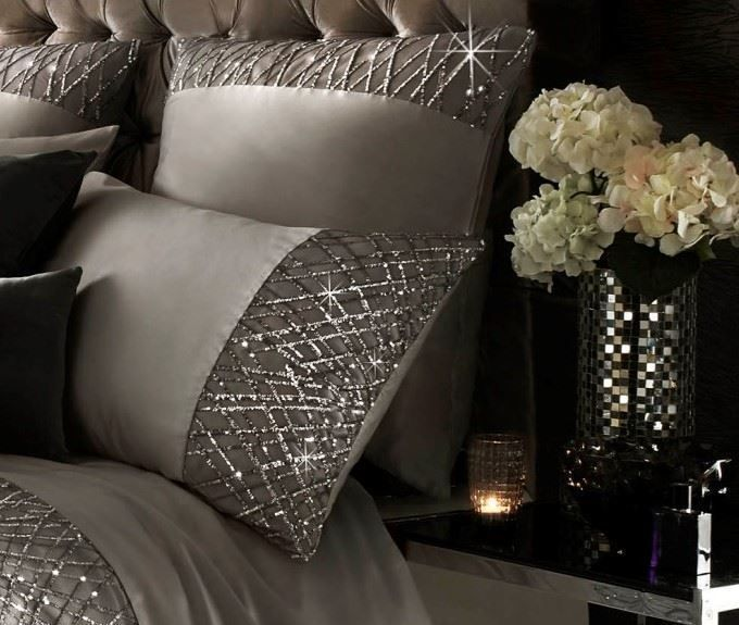 Kylie minogue esta sequin satin silver 200tc 100 cotton housewife - luxus bettwasche kylie minogue