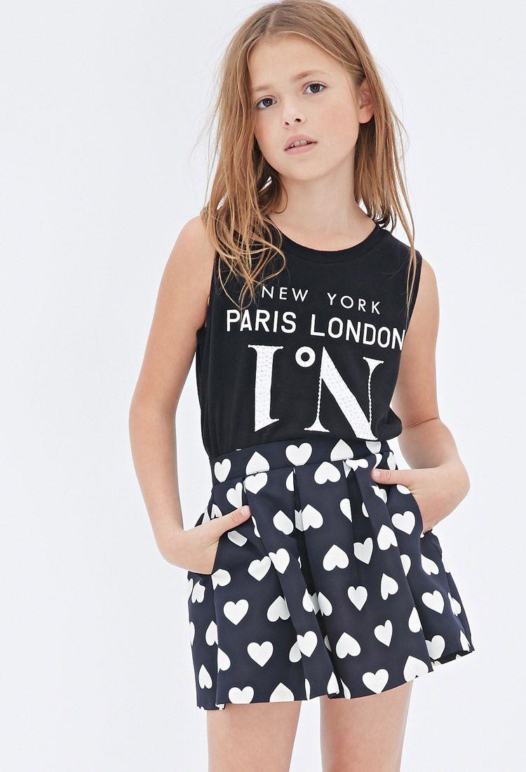 foto de Pleated Heart Print Skirt (Kids) FOREVER21 girls #