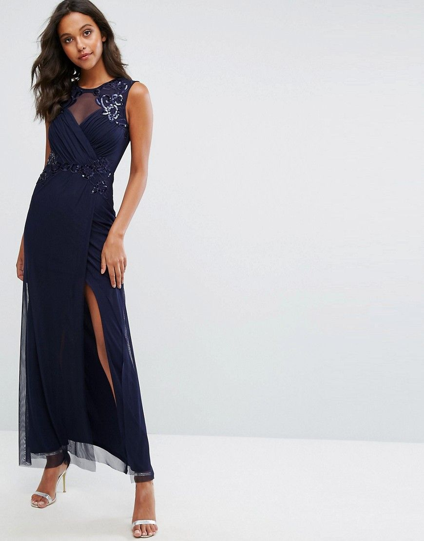 866d71bef2b Michelle Keegan Love Lipsy Ruched Sequin Maxi Dress - Navy