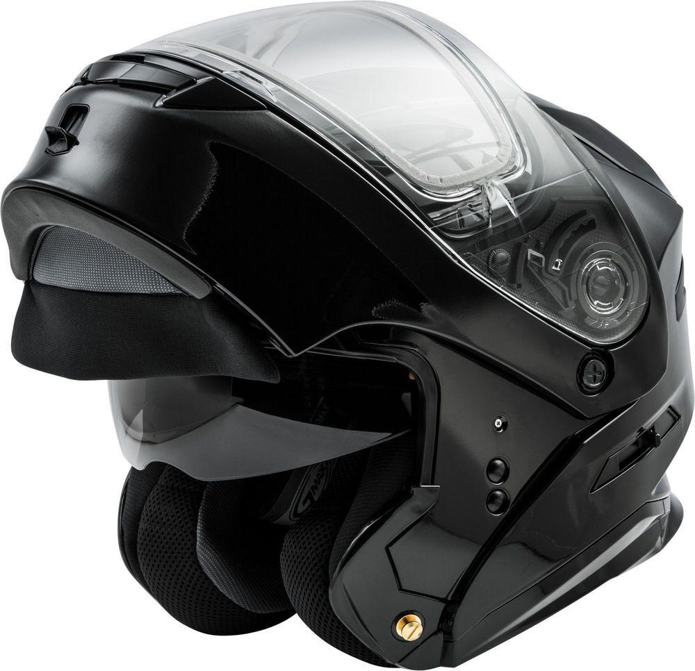 Gmax Md01 Modular Snow Helmet Gloss Black Electric Shield Cord Helm Glossy Racing Spirit White Blue