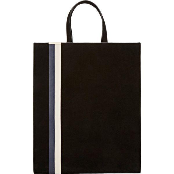Tomasini Paris Stripe-Inset Shopper Tote (14.010 NOK) ❤ liked on Polyvore featuring bags, handbags, tote bags, black, genuine leather tote bag, shopping bag, stripe tote, leather shopper tote bag and leather purse