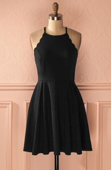 A-Line Halter Sleeveless Wavy Edge Short Black Satin Homecoming Dress