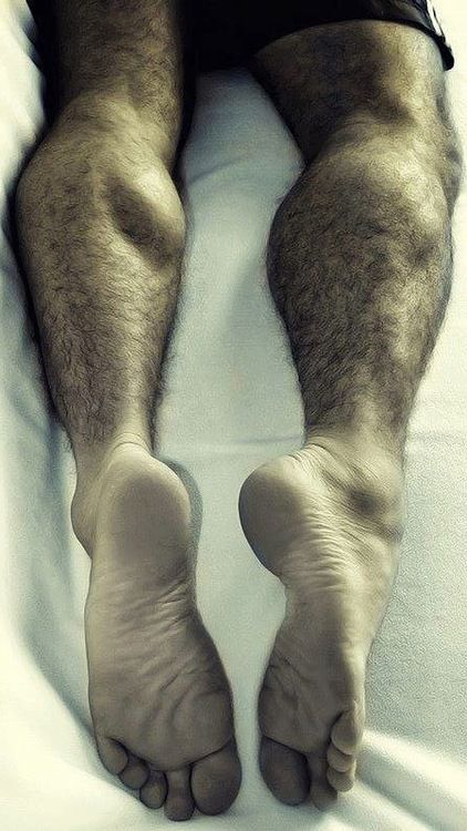 with feet hairy legs Men big