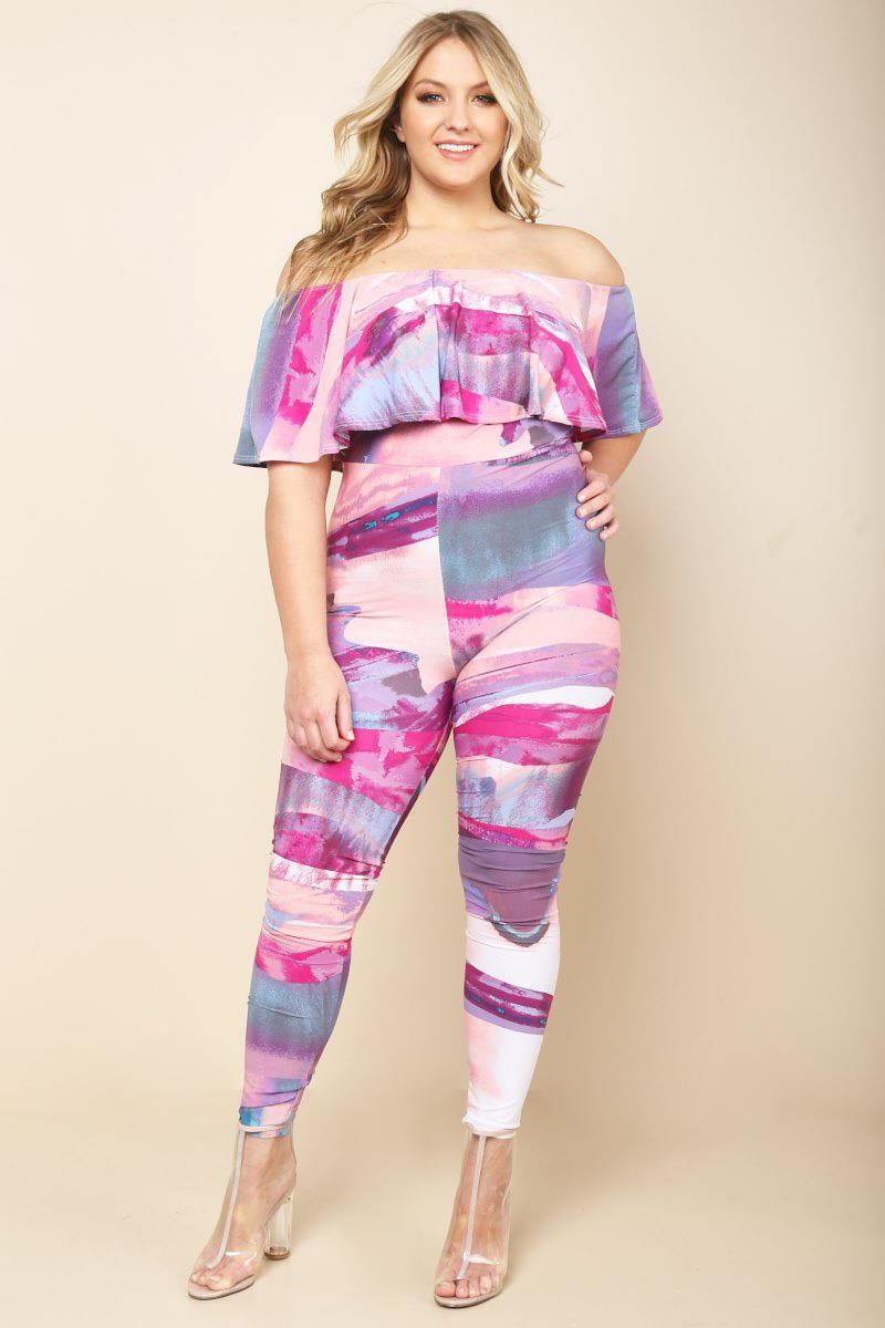 A plus size bodycon jumpsuit with an off-shoulder neckline and a ...
