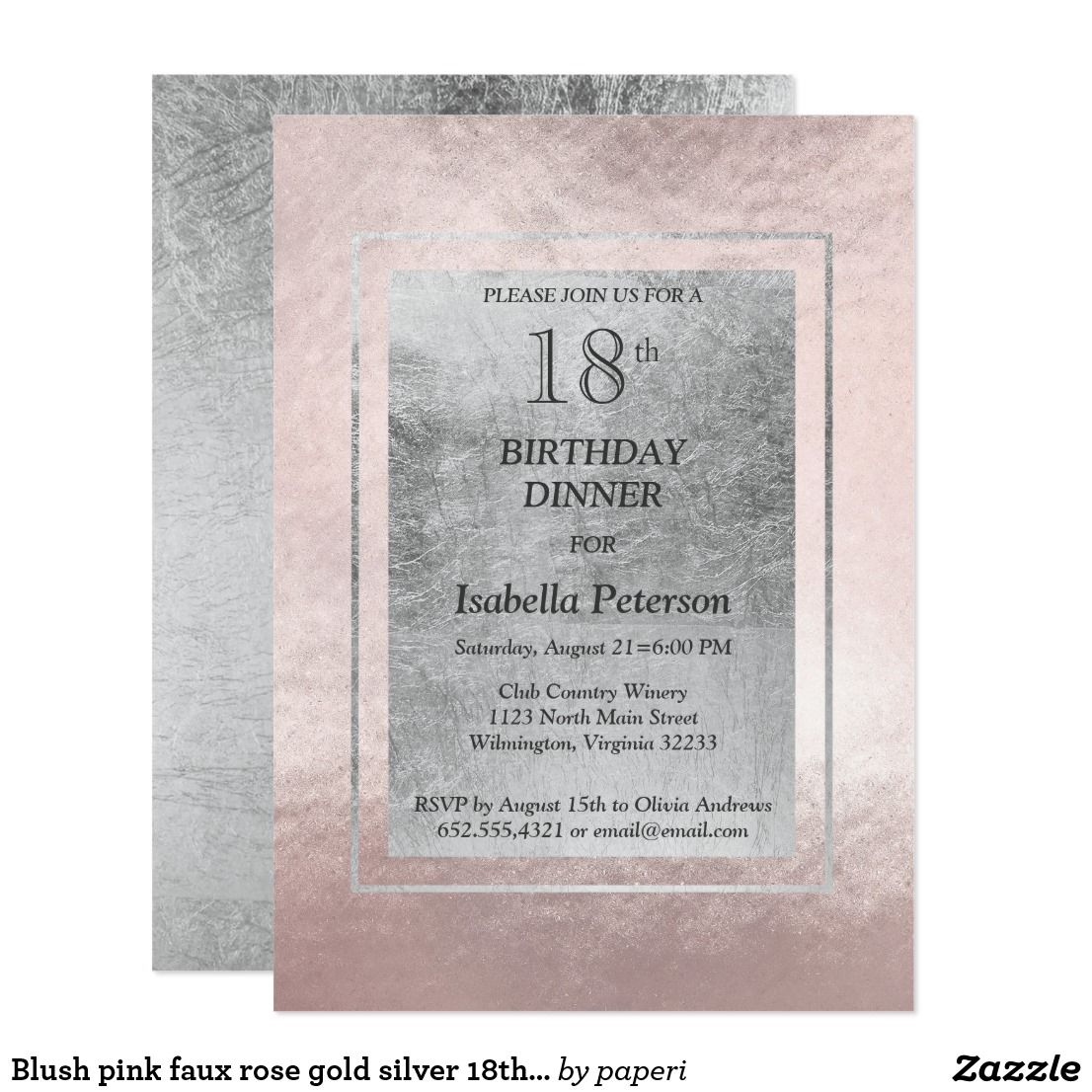 Blush Pink Faux Rose Gold Silver 18th Birthday