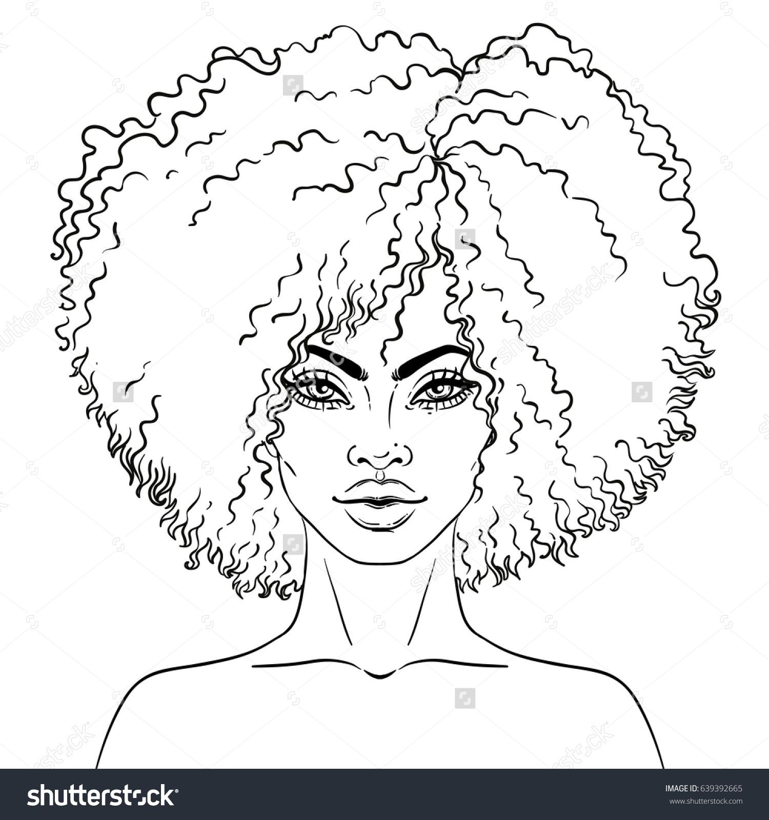 African American pretty girl Vector Illustration of Black