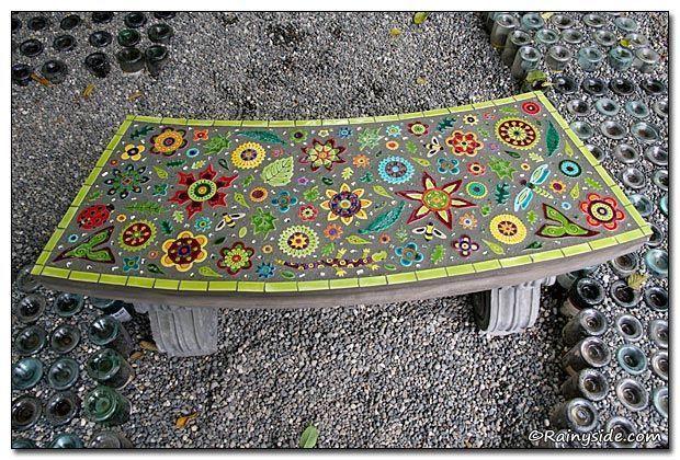 Astounding Mosaic Garden Bench 2 Mosaic Concrete Garden Bench Inzonedesignstudio Interior Chair Design Inzonedesignstudiocom