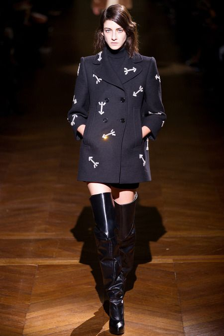 Carven F/W 2014, embellished pea coat, over the knee boots