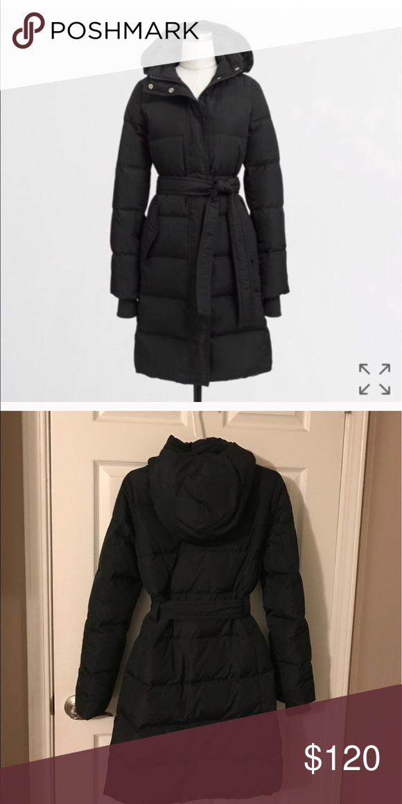 aa8bf6bfd NWT J. Crew Factory Belted Puffer Coat Black Puffer Coat! Never been ...