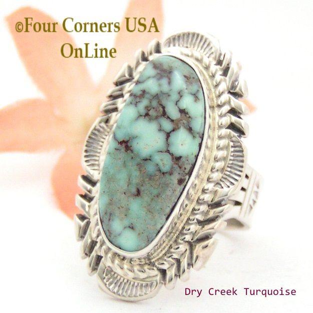 Four Corners USA Online - Size 7 1/2 Dry Creek Turquoise Elongated Ring Navajo Artisan Thomas Francisco NAR-1780, $218.00 (http://stores.fourcornersusaonline.com/size-7-1-2-dry-creek-turquoise-elongated-ring-navajo-artisan-thomas-francisco-nar-1780/)
