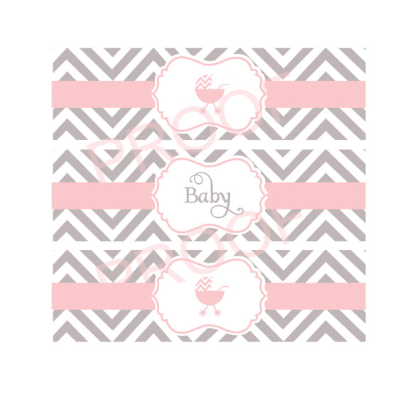 Printable water bottle labels for baby shower in chevron gray and ...