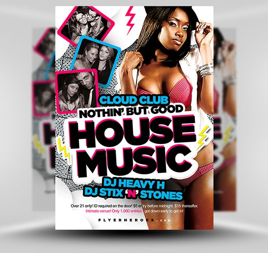 Free House Music Flyer Template #Psd #Photoshop #Flyer #Template