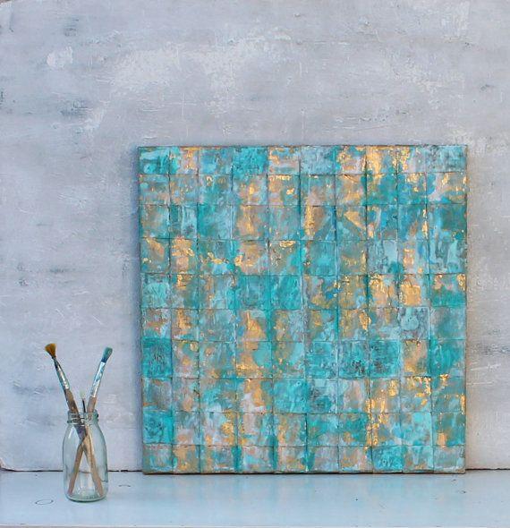 Abstract painting turquoise gold art gold leaf von AtelierMaltopf - wohnzimmer bilder abstrakt