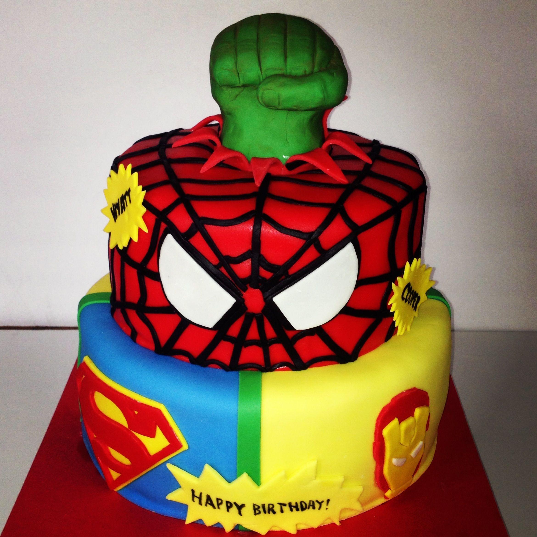 Superhero cake Avengers Hulk Iron Man Spiderman Thor Captain