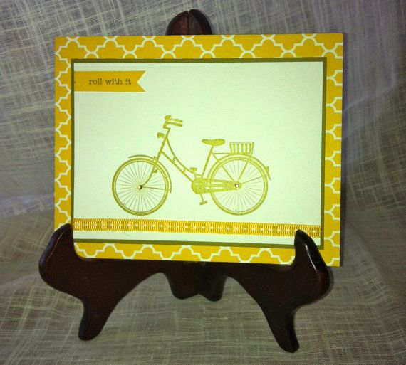 Roll With It Bicycle birthday card by lindsaynspencer on Etsy, $3.25