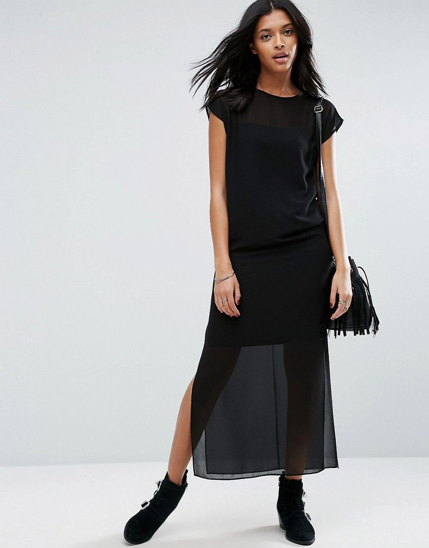 48738adcf Get this Asos's long dress now! Click for more details. Worldwide shipping.  ASOS Sheer T-Shirt Maxi Dress with Side Splits - Black: Maxi dress by ASOS  ...