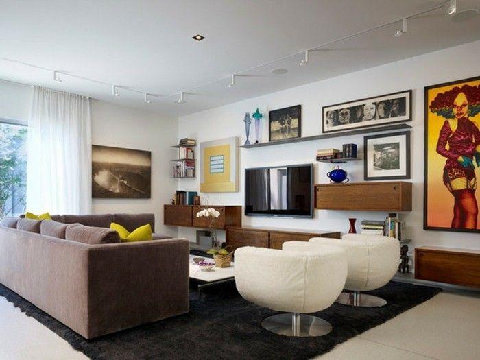 wohnideen wohnzimmer schwarzer teppich braunes sofa fernseher - teppich wohnzimmer braun