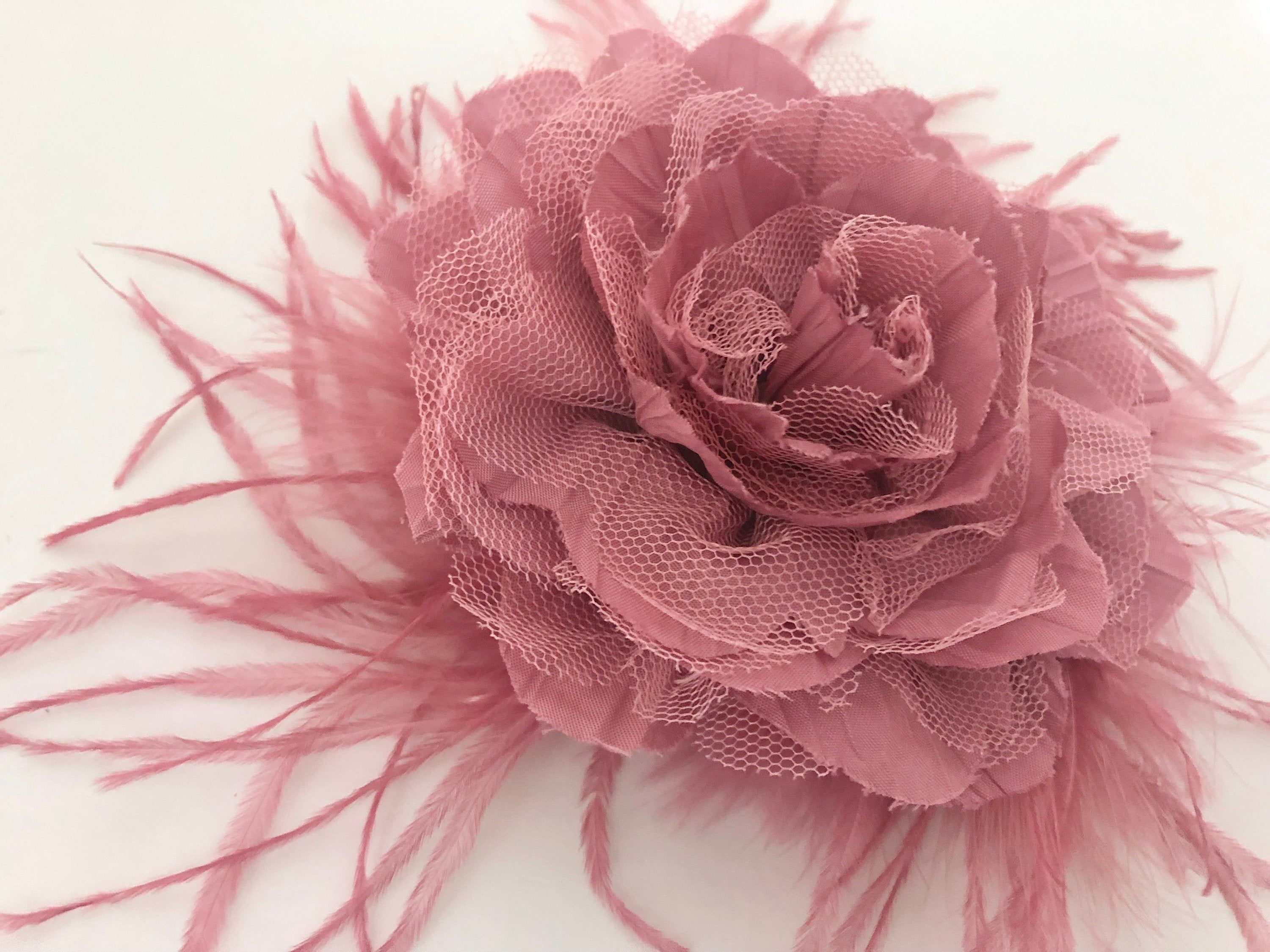 Beautiful Black and Fuchsia Pink Rose Flower Fascinator on a Hair Clip Brooch