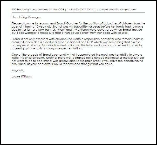 letter of recommendation for babysitter