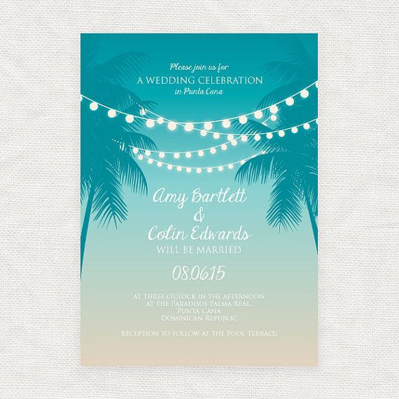 Tropical Printable Wedding Invitation Digital File Beach Fairy Etsy Beach Wedding Invitations Printable Wedding Invitations Destination Wedding Invitations