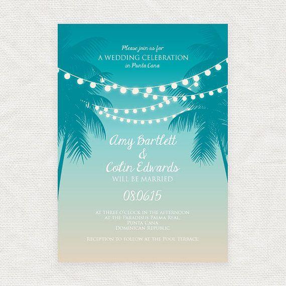 Tropical printable wedding invitation digital file beach fairy ...