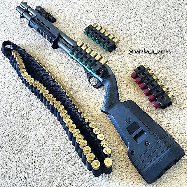 Remington 870 Tactical. Mounted to the right side of the forend is the Magpul MOE Rail Light Mount holding a 500 Lumens Surefire lights P2X Fury Defender LED Flashlight. The side saddle is by Aridus_Industries, specifically the Aridus Industries Quick-Detach Carrier (Q-DC). Nice set up for home defense. http://www.superiorsecurityconcepts.com