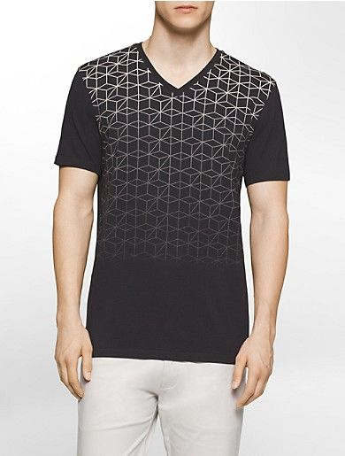 aeaa4c5c9 a slim fit v-neck t-shirt featuring soft cotton fabric and a gradient  geometric print design.