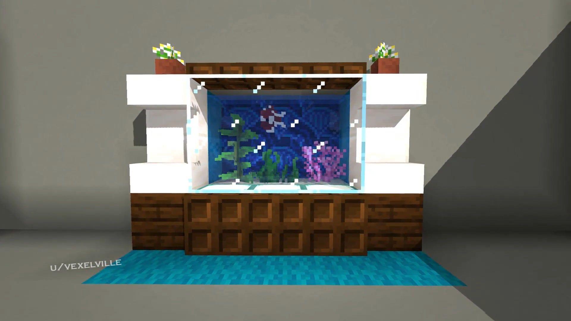 R Minecraft Build A Neat And Simple Aquarium Interior Design For
