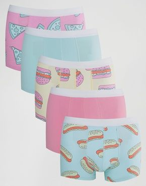 b22277d33f ASOS Trunks 5 Pack With Fast Food Print SAVE 28%