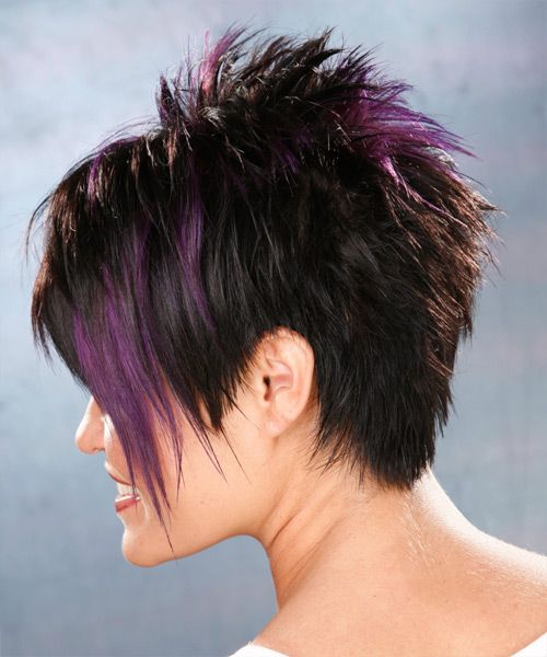 Short Straight Black Plum Hairstyle With Purple Highlights Razored Haircuts Short Hair Color Thick Hair Styles