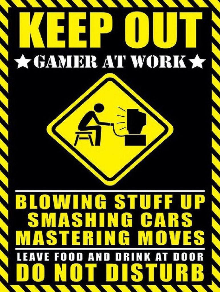 Keep Out Gamer At Work Funny Gaming Sign Metal Aluminium