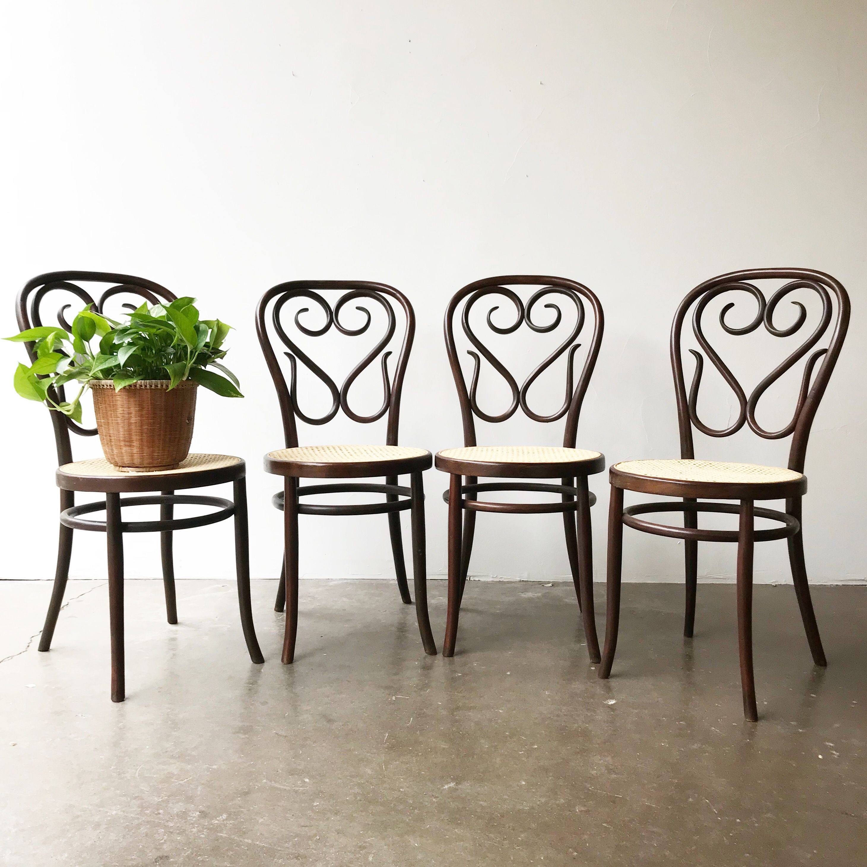 FOR SALE Set of 4 Vintage Bentwood and Cane Seat